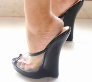 Sexy Women Extreme Killer 18cm High Heel Clear Wedge Mule Sandals Slipers Fetish