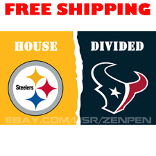 Pittsburgh Steelers vs Houston Texans House Divided Flag Banner 3x5 ft 2019 NEW