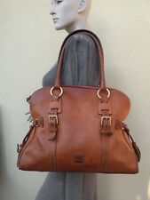 DOONEY AND BOURKE TAN LEATHER TASSEL LARGE SATCHEL BAG PURSE