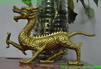 "8"" Chinese brass fengshui animal Zodiac Dragon auspicious lucky statue"