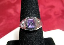 14K WHITE GOLD 2005 TEMPLE UNIVERSITY RX PHARMACY AMETHYST SCHOOL RING SIZE 7.25