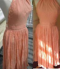 peach mesh floaty halter neck dress, backless with full skirt sz m-waist 26''
