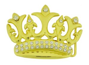 Crown Belt Buckle Royal Gold metal Blinged Out Rhinestones rock rebel men women