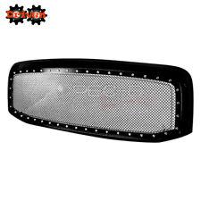 For 06-08 Dodge Ram 1500/2500/3500 Rivet Style Mesh Grille ABS Plastic Black