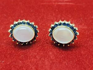 18 crt Gold Earrings 2 Carat  HIGH MOONSTONE CABOCHON & SAPPHIRE Earrings