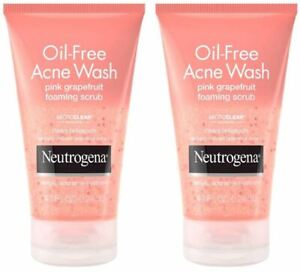 Neutrogena Oil-Free Acne Wash Foaming Facial Scrub Pink Grapefruit 4.2oz - 2pks