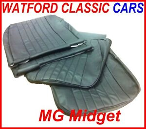 MG Midget / Sprite Pair of Seat Covers 1970 - 1981 Leather look All Black