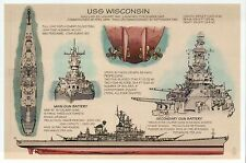USS Wisconsin, BB-64, Battleship, Military, US Navy, Ship --- Technical Postcard