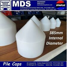 385mm PILE POLE CAP PONTOON JETTY MARINA TIMBER PROTECTION BIRD PROOFING WHITE