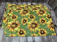 "Set of 6 Fabric Placemats Yellow Sunflowers Green Summer Home Trends 12""x18"""