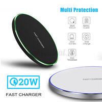 20W Qi Wireless Fast Charging Pad Metal Charger For Samsung For iPhone Android