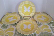 Fitz & Floyd Papillion 4 Salad Dessert Plates Yellow White Butterfly Free Ship
