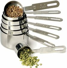 RSVP Measuring Cups Durable 18/8 Stainless Steel 7 Piece Set Rounded Handles