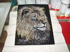 Scratchboard Art, Lion, 82 / 500, Nanci Wright Signed 1997