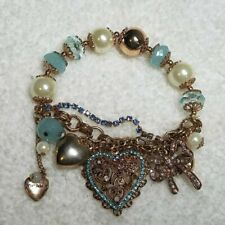 Betsey Johnson Vintage Blue Pearl Rhinestone Crystal Heart Bracelet RARE