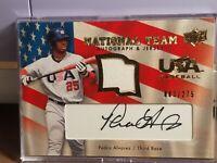 2008 USA Baseball National Team Signatures & Patch Auto Pedro Alvarez 003/275