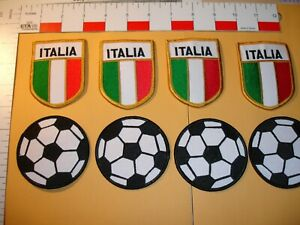 Italy Soccer/Football patches 8 patch set 4 Italia flags 4 soccer balls