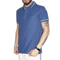 Polo Uomo Lotto Sport Cotone Maniche Corte Colletto T-Shirt Blu Tinta unita Riga