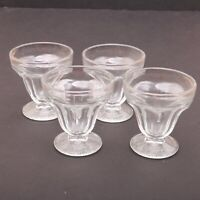 4 Clear Glass Texture Pattern Base Sherbets Footed Ice Cream Bowl Sundae