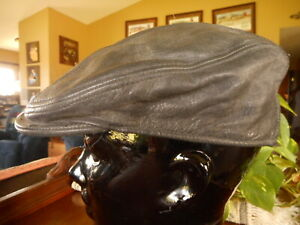 Black Leather Newsboy Cap Hat Small Medium Stretch Cabbie Bald Head Cover