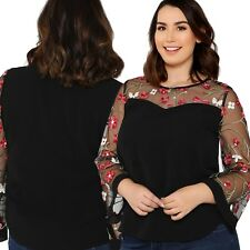New Ladies Long Sleeve Mesh Embroided Top Plus Size 16/1XL (1283)QA