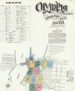 Olympia, Washington Sanborn Map© sheets on CD 59 maps in made 1884 to 1908~COLOR