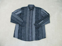 Bugatchi Uomo Button Up Shirt Adult Extra Large Black Gray Striped Casual Mens *