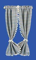 Puppenhaus Blau Beige Kariert Vorhänge Drapes Miniatur 1:12 Fenster Zubehör