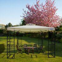 Quictent 10x10 Metal Gazebo Double Tier Softtop Canopy Pergola Waterproof Beige