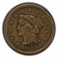 1853 1c Braided Hair Large Cent - VF Coin - SKU-Y2840