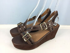 Corso Como Anthropologie brown leather platform wedge sandals 10 Career EUC