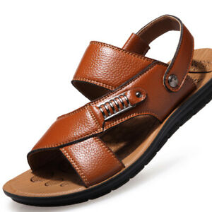 Mens Summer Sandals Walking Beach Casual Leather Slippers Clogs Mules Shoes Size