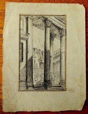 Dessin ancien époque 18ème - Personnages dans un palais italien