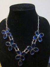 "FASHION JEWELRY SILVER OVERLAY LAB BLUE SAPPHIRES FLOWERS 18"" NECKLACE"