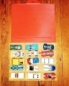 Lot of 15 Original 1960's Aurora HO Thunderjet T Jet Slot Cars w Case Some Run!!