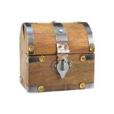 mini rustic aged wood treasure chest domed top 3x3 jewelry ring coin trinket box