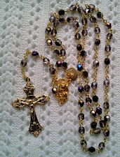 AMETHYST PURPLE AZURO AB CRYSTAL ROSARY -18K GOLD PLATED-MADE IN CZECH