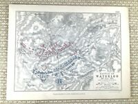 1855 Antik Militär Map Of Die Kampf Von Waterloo 1815 Französisch Britisch Krieg