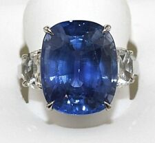 16.39Ct GIA Cushion Cut Madagascar Blue Sapphire & Diamond Ring Platinum