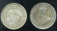 STRAITS SETTLEMENTS   10 ten  cents 1927  ARGENT  SILVER  ( bis )