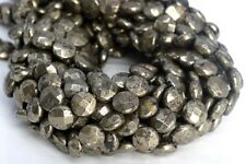 10x4MM Copper Pyrite Faceted Flat Round Button AAA Natural Loose Beads 7.5""