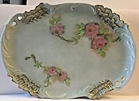 """ANTIQUE GOLD RIMMED HAND PAINTED ROSES * SIGNED BY ARTIST 12"""" L by 9"""" W PLATTER"""