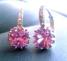 FH Pink cushion sapphire sim diamond WHITE GOLD GF French hoop earrings BOXED