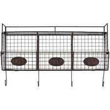 Black Wire Shelf Coat Rack w/ 3 Baskets Storage Display Organizer Home Decor New