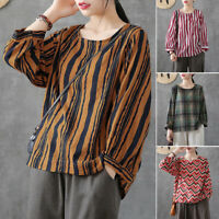 ZANZEA Women Long Sleeve Round Neck Plaid Check Shirt Tops Oversize Retro Blouse