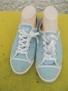 CONVERSE BLUE & WHITE STRIPED FABRIC LOW RISE SNEAKERS/SHOES-SZ 10-10.5 VGC