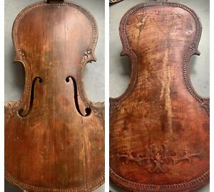 Beautiful Antique Carved Front And Back 18th Century Violin For Restoration