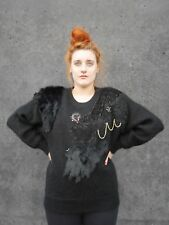 Suéter l drapeadas oversize mohair 80er negro True vintage bat Sweater