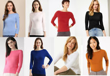 Marks & Spencer M&S Women Slash Neck 3/4 Sleeve Cotton Fitted T Shirt Top Tee