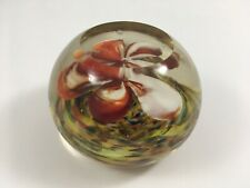 Vintage Glass Red & White Flower Paperweight Multi-Color Whirl